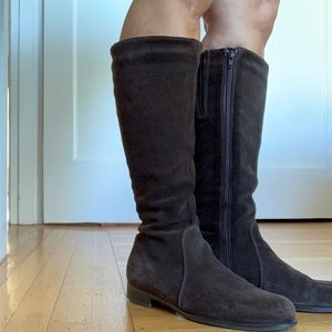 Leather knee high brown flat boots